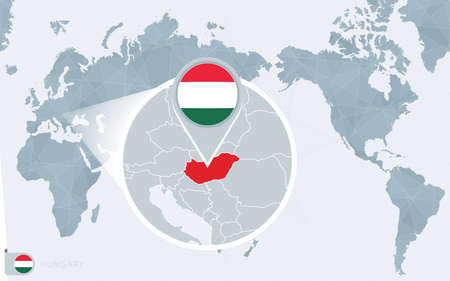 Pacific Centered World map with magnified Hungary. Flag and map of Hungary on Asia in Center World Map.
