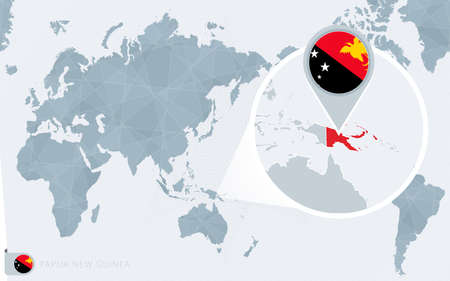 Pacific Centered World map with magnified Papua New Guinea. Flag and map of Papua New Guinea on Asia in Center World Map.