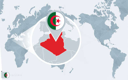 Pacific Centered World map with magnified Algeria. Flag and map of Algeria on Asia in Center World Map.