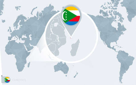 Pacific Centered World map with magnified Comoros. Flag and map of Comoros on Asia in Center World Map.