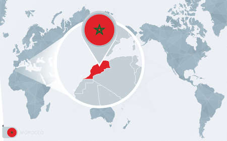Pacific Centered World map with magnified Morocco. Flag and map of Morocco on Asia in Center World Map.