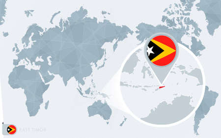 Pacific Centered World map with magnified East Timor. Flag and map of East Timor on Asia in Center World Map.