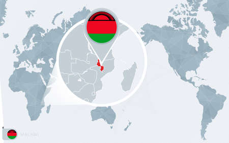 Pacific Centered World map with magnified Malawi. Flag and map of Malawi on Asia in Center World Map. Ilustração