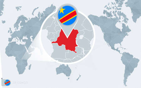 Pacific Centered World map with magnified DR Congo. Flag and map of DR Congo on Asia in Center World Map.