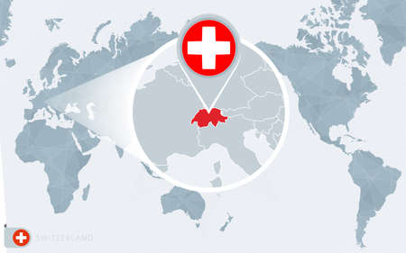 Pacific Centered World map with magnified Switzerland. Flag and map of Switzerland on Asia in Center World Map.