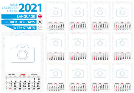A3 size wall calendar 2021 year with abstract lined background and place for you photo. Week starts from Sunday, English language. Ilustrace