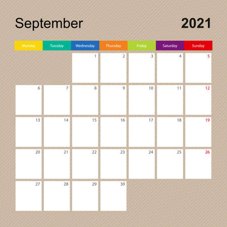 Ð¡alendar page for September 2021, wall planner with colorful design. Week starts on Monday. Vector calendar template.