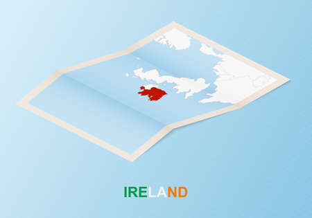 Folded paper map of Ireland with neighboring countries in isometric style on blue vector background.
