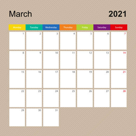 Ð¡alendar page for March 2021, wall planner with colorful design. Week starts on Monday. Vector calendar template.
