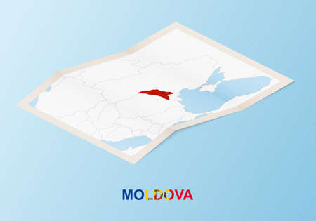 Folded paper map of Moldova with neighboring countries in isometric style on blue vector background.