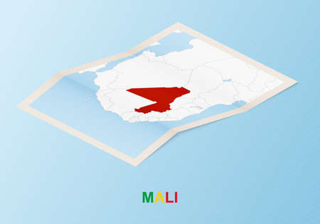 Folded paper map of Mali with neighboring countries in isometric style on blue vector background.