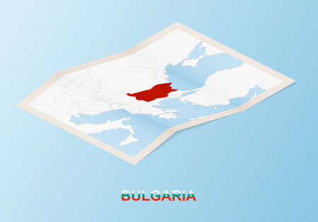 Folded paper map of Bulgaria with neighboring countries in isometric style on blue vector background.