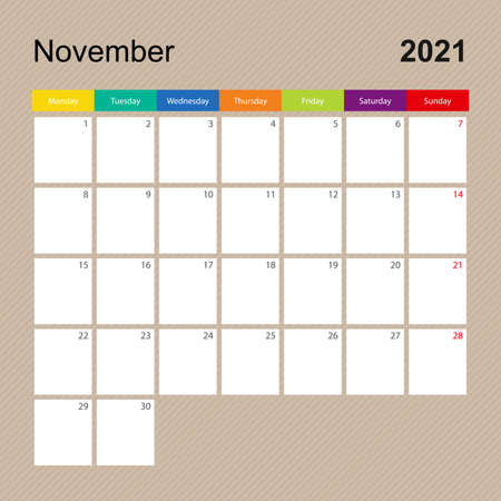 Ð¡alendar page for November 2021, wall planner with colorful design. Week starts on Monday. Vector calendar template.
