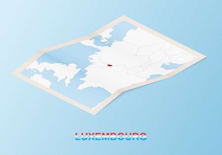 Folded paper map of Luxembourg with neighboring countries in isometric style on blue vector background. 矢量图像