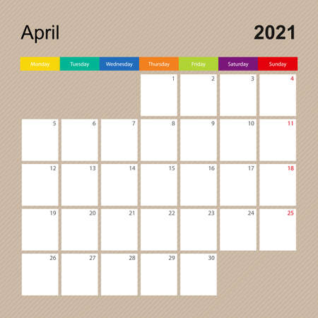 Ð¡alendar page for April 2021, wall planner with colorful design. Week starts on Monday. Vector calendar template. Ilustrace