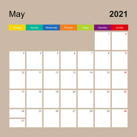 Ð¡alendar page for May 2021, wall planner with colorful design. Week starts on Monday. Vector calendar template. Ilustrace