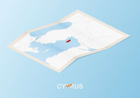 Folded paper map of Cyprus with neighboring countries in isometric style on blue vector background. 矢量图像