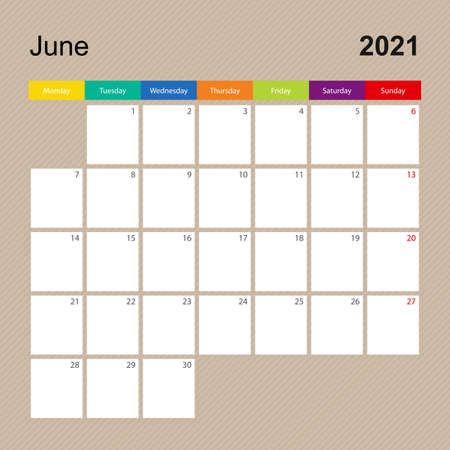 Ð¡alendar page for June 2021, wall planner with colorful design. Week starts on Monday. Vector calendar template.