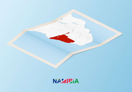 Folded paper map of Namibia with neighboring countries in isometric style on blue vector background.