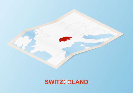 Folded paper map of Switzerland with neighboring countries in isometric style on blue vector background. 矢量图像