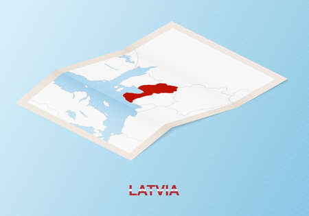 Folded paper map of Latvia with neighboring countries in isometric style on blue vector background.