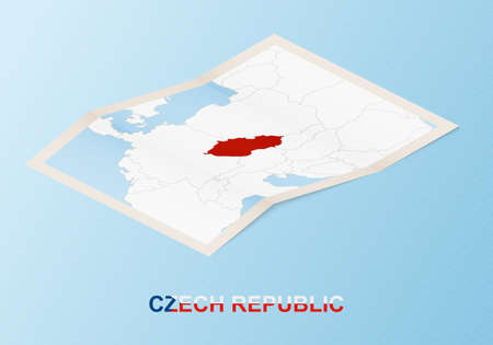 Folded paper map of Czech Republic with neighboring countries in isometric style on blue vector background. 向量圖像