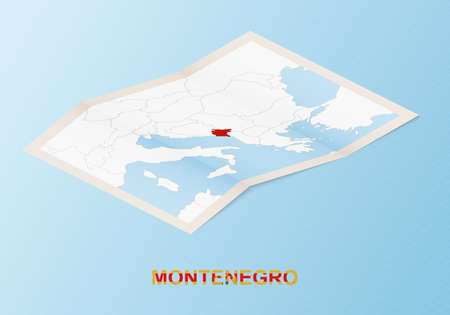 Folded paper map of Montenegro with neighboring countries in isometric style on blue vector background. Ilustração