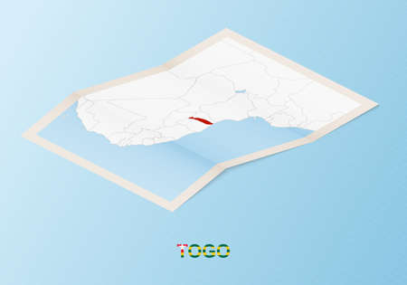 Folded paper map of Togo with neighboring countries in isometric style on blue vector background.