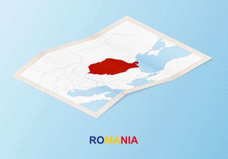 Folded paper map of Romania with neighboring countries in isometric style on blue vector background.