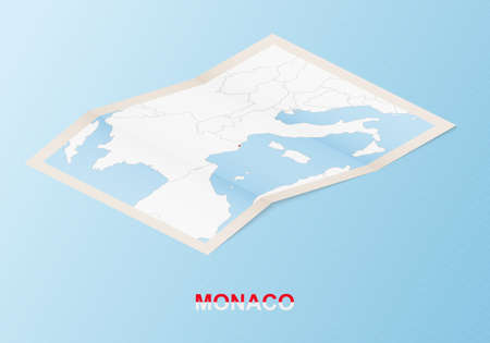 Folded paper map of Monaco with neighboring countries in isometric style on blue vector background. 矢量图像