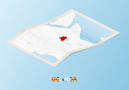 Folded paper map of Uganda with neighboring countries in isometric style on blue vector background.