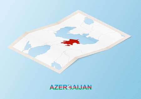 Folded paper map of Azerbaijan with neighboring countries in isometric style on blue vector background.