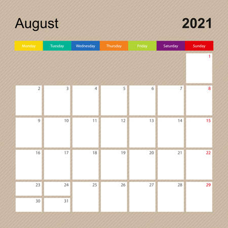 Ð¡alendar page for August 2021, wall planner with colorful design. Week starts on Monday. Vector calendar template. Ilustrace