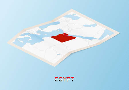 Folded paper map of Egypt with neighboring countries in isometric style on blue vector background.  イラスト・ベクター素材