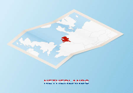 Folded paper map of Netherlands with neighboring countries in isometric style on blue vector background.