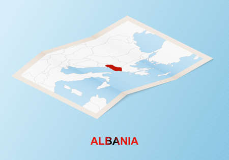 Folded paper map of Albania with neighboring countries in isometric style on blue vector background.
