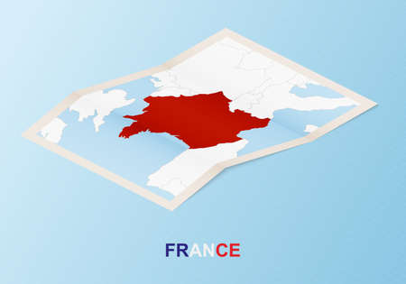 Folded paper map of France with neighboring countries in isometric style on blue vector background.