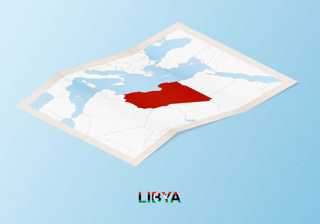 Folded paper map of Libya with neighboring countries in isometric style on blue vector background.