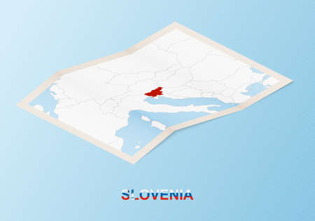 Folded paper map of Slovenia with neighboring countries in isometric style on blue vector background. 矢量图像