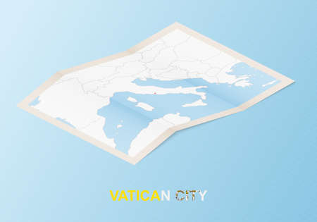 Folded paper map of Vatican City with neighboring countries in isometric style on blue vector background. 矢量图像
