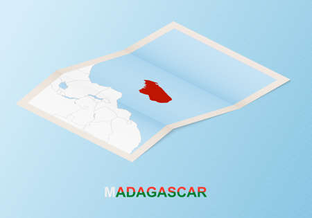 Folded paper map of Madagascar with neighboring countries in isometric style on blue vector background. 矢量图像