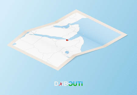 Folded paper map of Djibouti with neighboring countries in isometric style on blue vector background. 矢量图像
