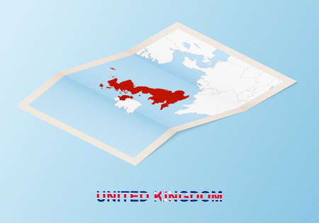 Folded paper map of United Kingdom with neighboring countries in isometric style on blue vector background.