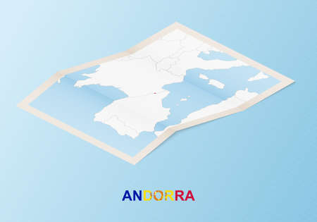 Folded paper map of Andorra with neighboring countries in isometric style on blue vector background.
