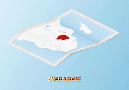 Folded paper map of Zimbabwe with neighboring countries in isometric style on blue vector background.