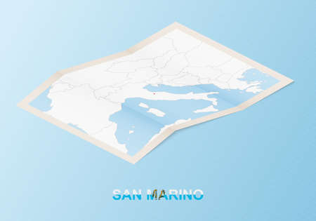 Folded paper map of San Marino with neighboring countries in isometric style on blue vector background.
