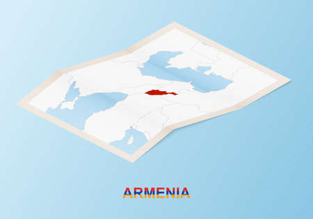 Folded paper map of Armenia with neighboring countries in isometric style on blue vector background.