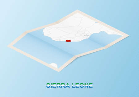 Folded paper map of Sierra Leone with neighboring countries in isometric style on blue vector background. 矢量图像