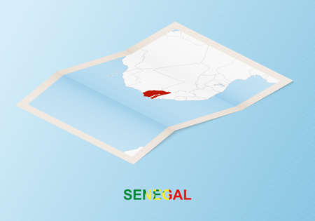 Folded paper map of Senegal with neighboring countries in isometric style on blue vector background. 矢量图像