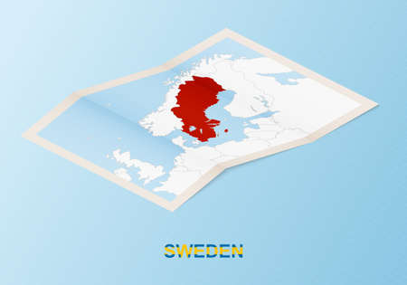 Folded paper map of Sweden with neighboring countries in isometric style on blue vector background. 矢量图像